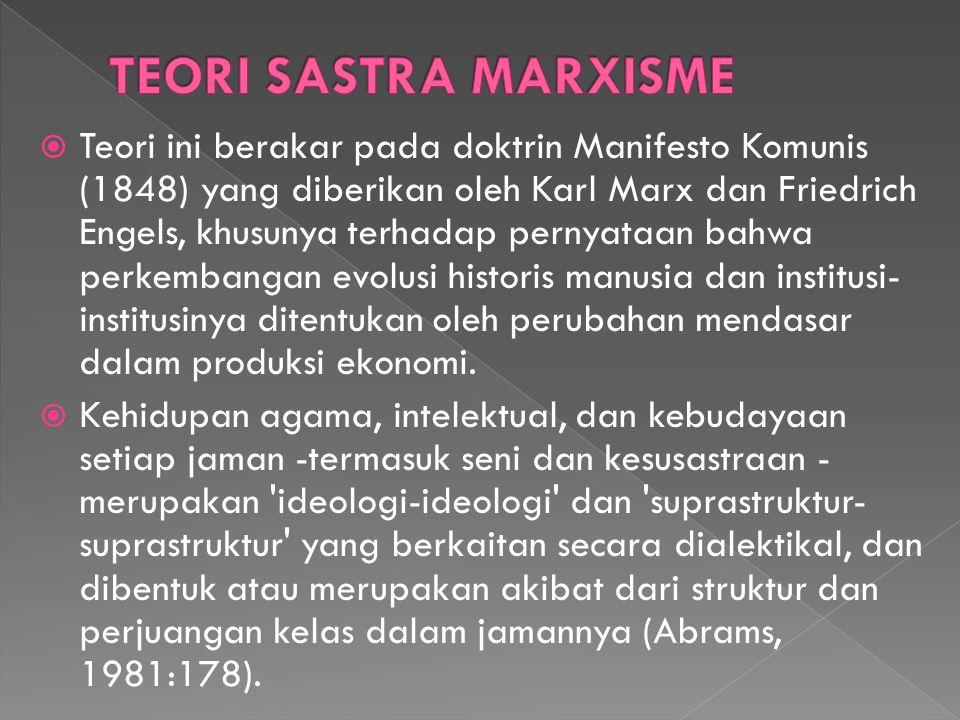  Teori ini berakar pada doktrin Manifesto Komunis (1848) yang diberikan oleh Karl Marx dan Friedrich Engels, khusunya terhadap pernyataan bahwa perke