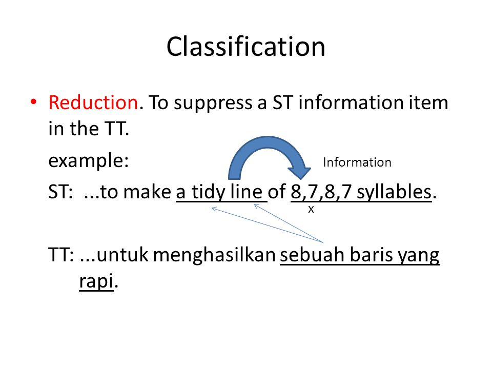Classification Reduction.To suppress a ST information item in the TT.