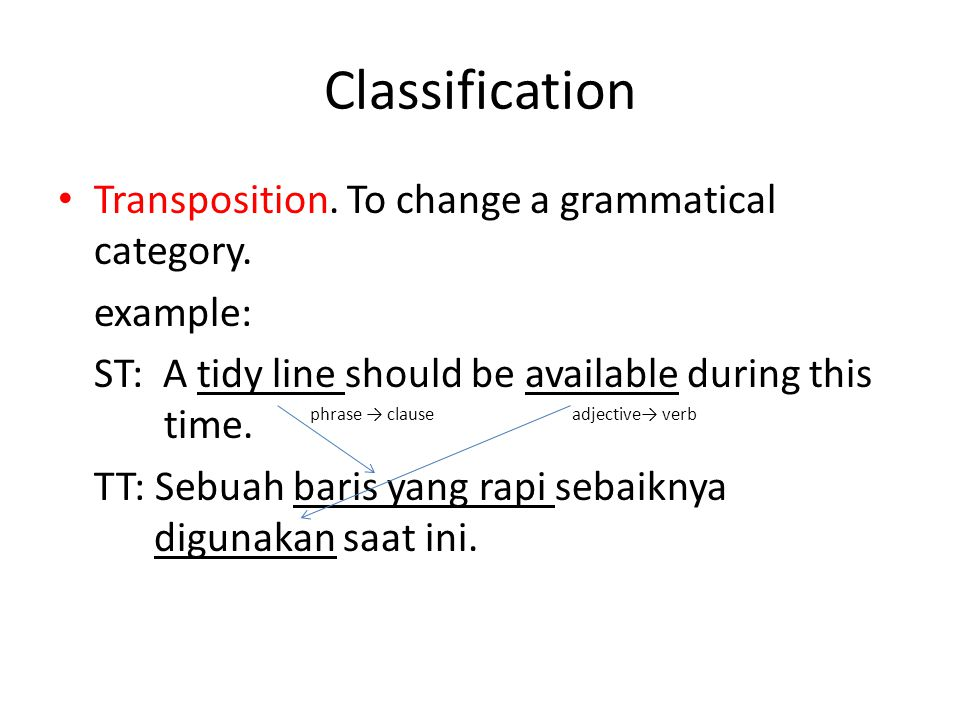 Classification Transposition.To change a grammatical category.