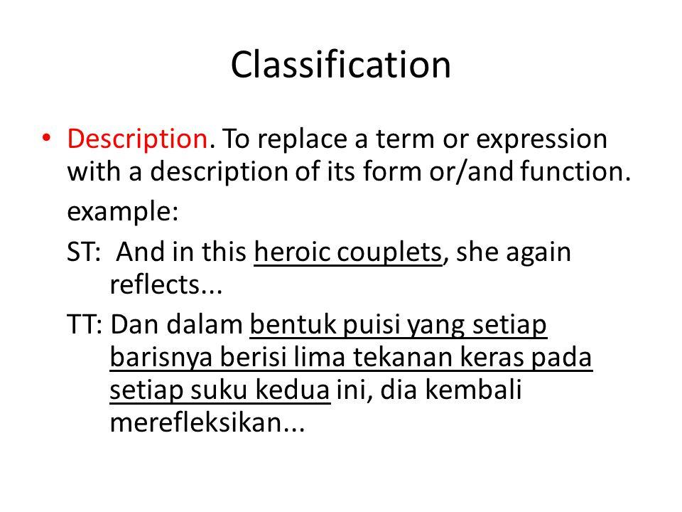 Classification Discursive creation.