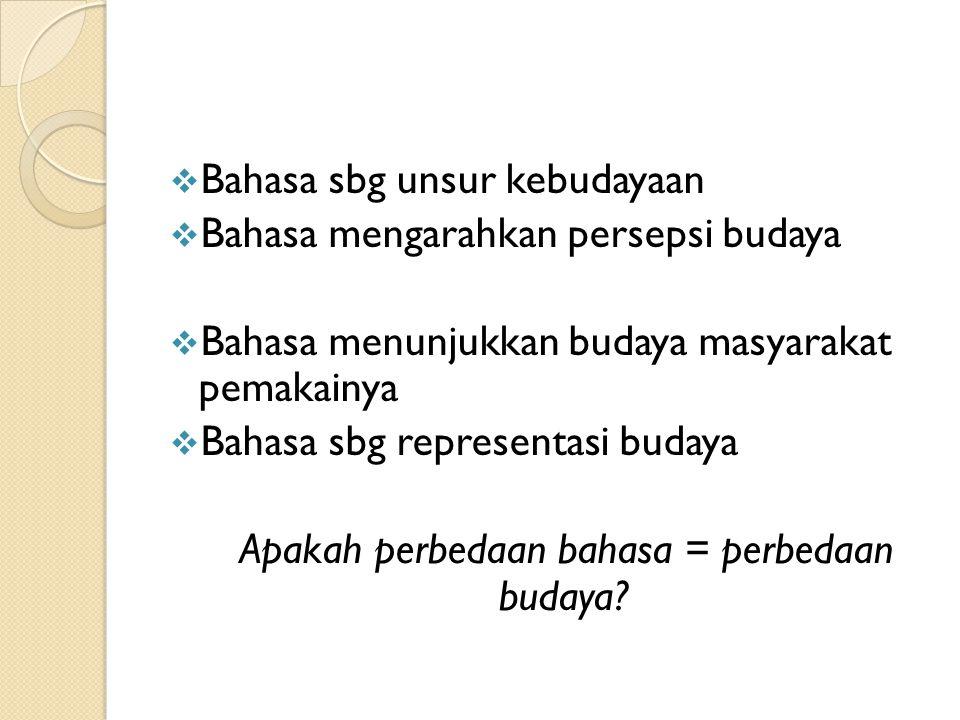 Dua sudut pandang  bahasa & budaya Budaya Bahasa 1. BAHASA bagian dari BUDAYA