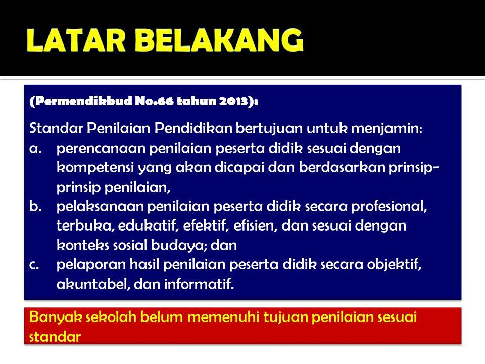 (Permendikbud No.66 tahun 2013): Standar Penilaian Pendidikan bertujuan untuk menjamin: a.perencanaan penilaian peserta didik sesuai dengan kompetensi