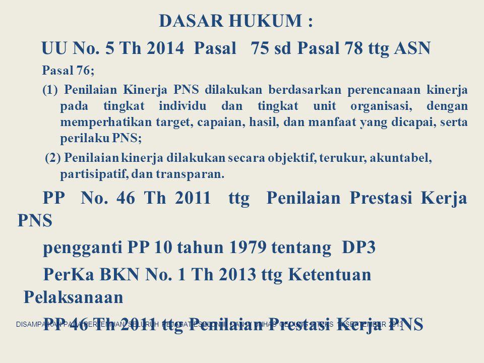 DASAR HUKUM : UU No. 5 Th 2014 Pasal 75 sd Pasal 78 ttg ASN Pasal 76; (1) Penilaian Kinerja PNS dilakukan berdasarkan perencanaan kinerja pada tingkat