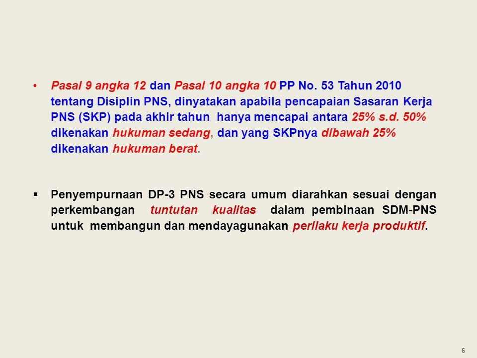 6 Pasal 9 angka 12 dan Pasal 10 angka 10 PP No. 53 Tahun 2010 tentang Disiplin PNS, dinyatakan apabila pencapaian Sasaran Kerja PNS (SKP) pada akhir t