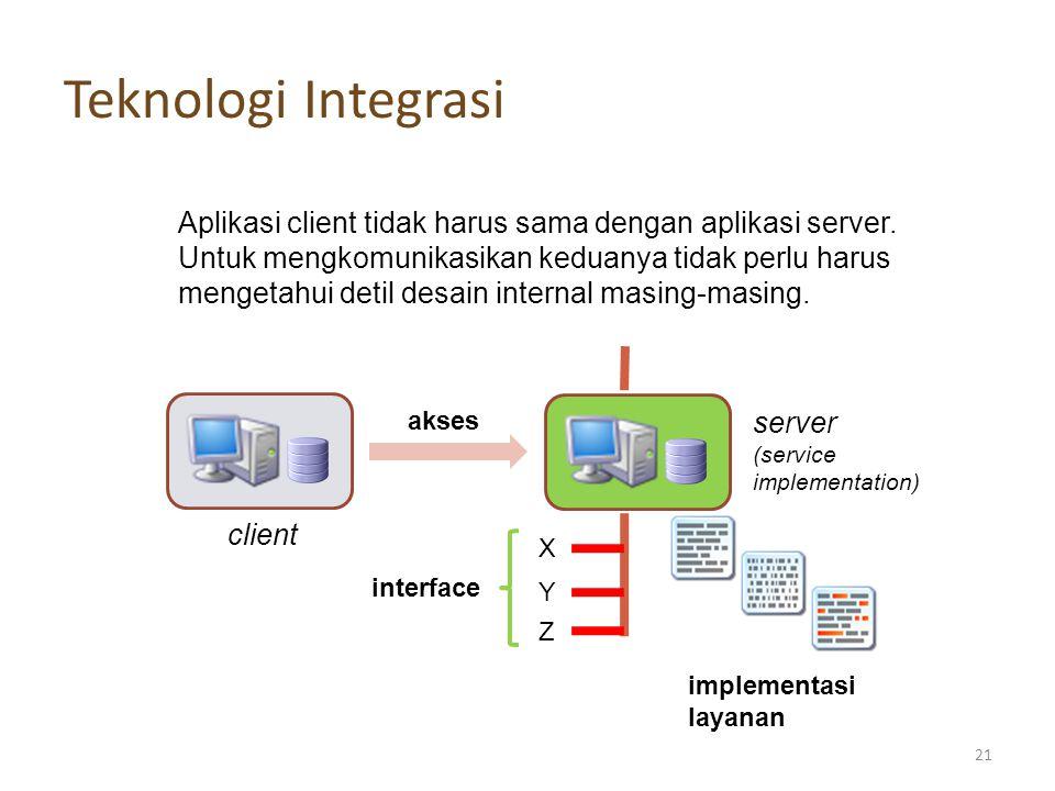 Teknologi Integrasi X Y Z interface implementasi layanan server (service implementation) client akses Aplikasi client tidak harus sama dengan aplikasi server.