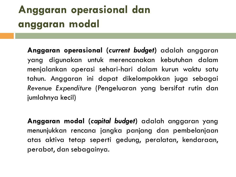 Anggaran operasional dan anggaran modal Anggaran operasional (current budget) adalah anggaran yang digunakan untuk merencanakan kebutuhan dalam menjal