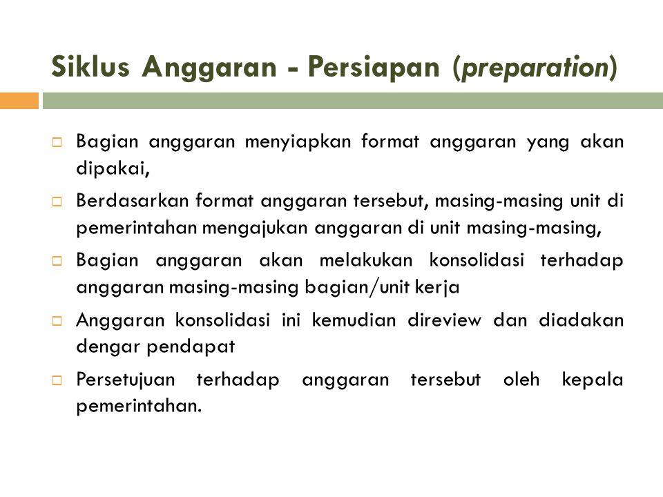 Siklus Anggaran - Persiapan (preparation)  Bagian anggaran menyiapkan format anggaran yang akan dipakai,  Berdasarkan format anggaran tersebut, masi