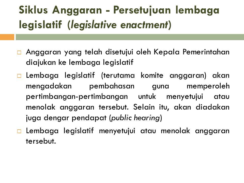 Siklus Anggaran - Persetujuan lembaga legislatif (legislative enactment)  Anggaran yang telah disetujui oleh Kepala Pemerintahan diajukan ke lembaga