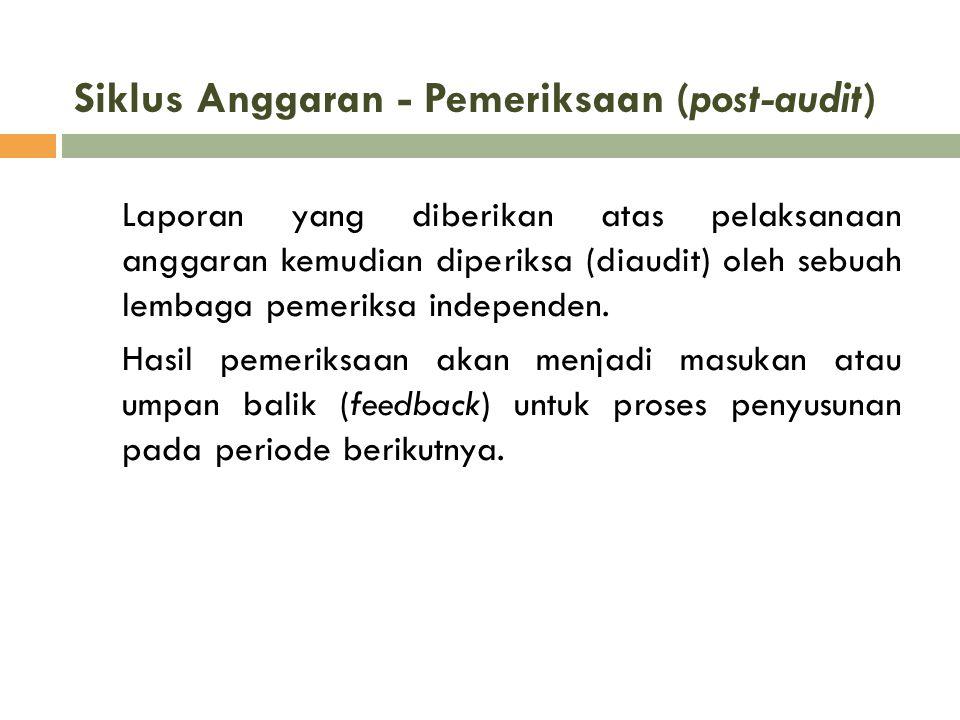 Siklus Anggaran - Pemeriksaan (post-audit) Laporan yang diberikan atas pelaksanaan anggaran kemudian diperiksa (diaudit) oleh sebuah lembaga pemeriksa