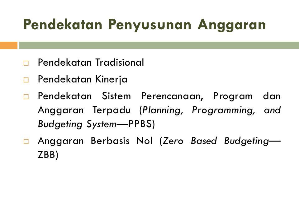 Pendekatan Penyusunan Anggaran  Pendekatan Tradisional  Pendekatan Kinerja  Pendekatan Sistem Perencanaan, Program dan Anggaran Terpadu (Planning,