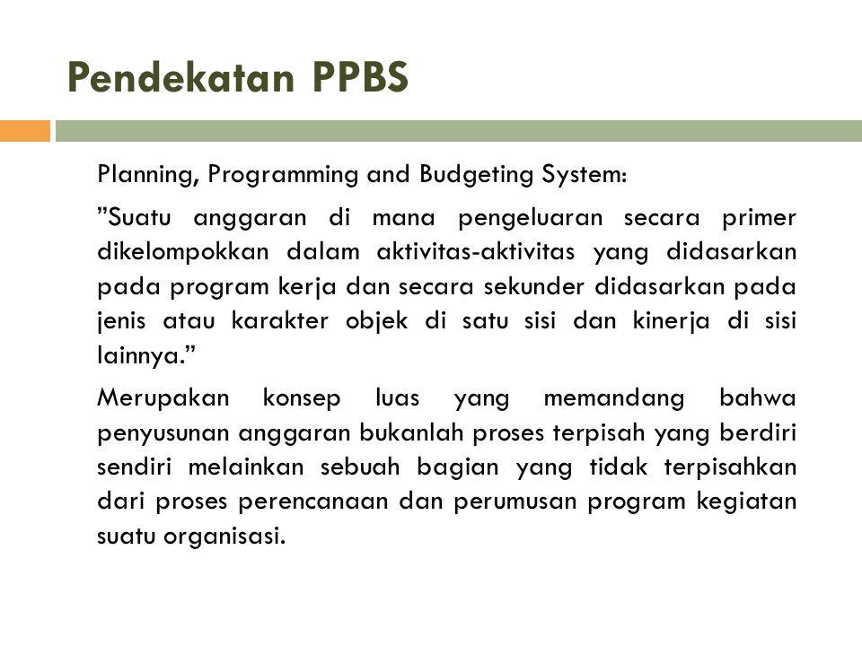 """Pendekatan PPBS Planning, Programming and Budgeting System: """"Suatu anggaran di mana pengeluaran secara primer dikelompokkan dalam aktivitas-aktivitas"""