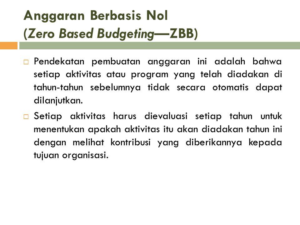 Anggaran Berbasis Nol (Zero Based Budgeting—ZBB)  Pendekatan pembuatan anggaran ini adalah bahwa setiap aktivitas atau program yang telah diadakan di