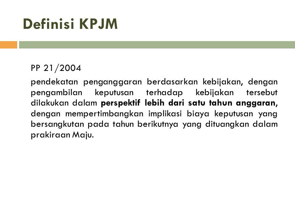 Definisi KPJM PP 21/2004 pendekatan penganggaran berdasarkan kebijakan, dengan pengambilan keputusan terhadap kebijakan tersebut dilakukan dalam persp