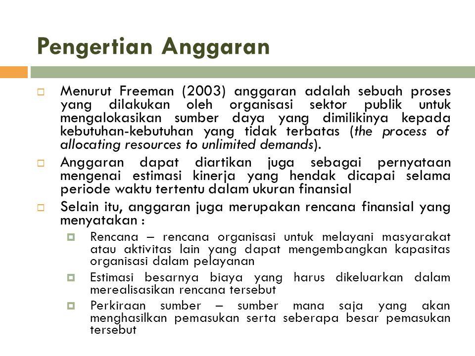 Pengertian Anggaran  Menurut Freeman (2003) anggaran adalah sebuah proses yang dilakukan oleh organisasi sektor publik untuk mengalokasikan sumber da