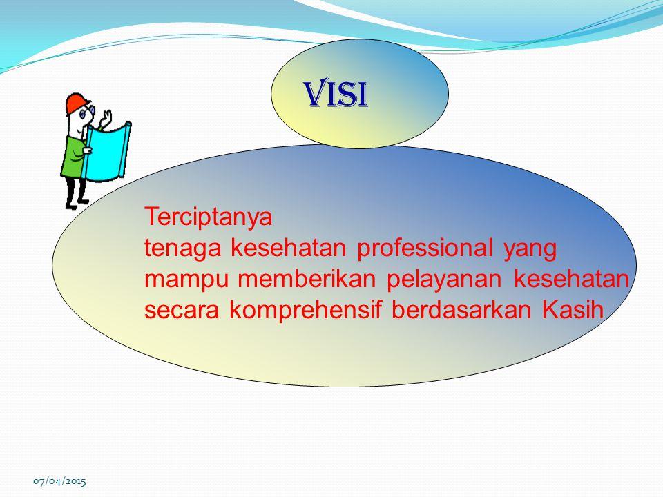 Terciptanya tenaga kesehatan professional yang mampu memberikan pelayanan kesehatan secara komprehensif berdasarkan Kasih Visi 07/04/2015