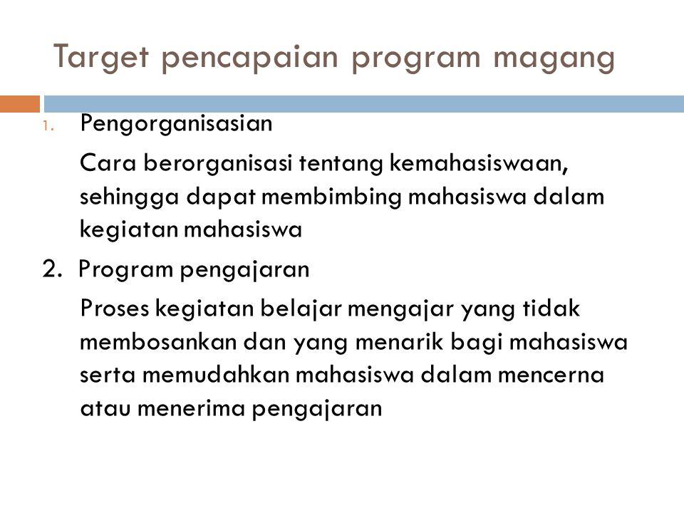 Target pencapaian program magang 1. Pengorganisasian Cara berorganisasi tentang kemahasiswaan, sehingga dapat membimbing mahasiswa dalam kegiatan maha