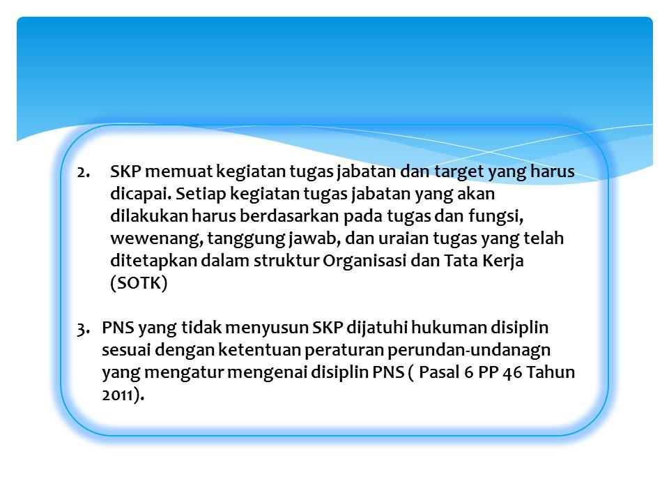 2.SKP memuat kegiatan tugas jabatan dan target yang harus dicapai. Setiap kegiatan tugas jabatan yang akan dilakukan harus berdasarkan pada tugas dan
