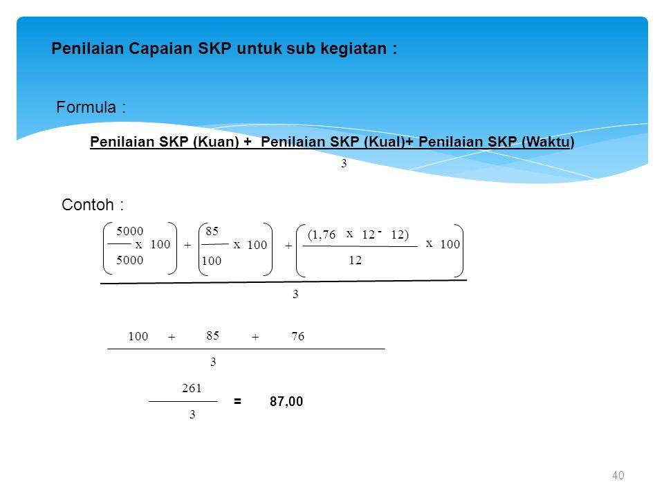 40 Penilaian Capaian SKP untuk sub kegiatan : Formula : Penilaian SKP (Kuan) + Penilaian SKP (Kual)+ Penilaian SKP (Waktu) Contoh : 100 x 5000  100 x