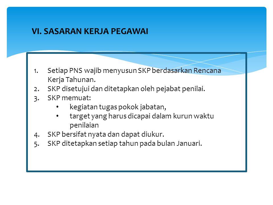 1.Setiap PNS wajib menyusun SKP berdasarkan Rencana Kerja Tahunan. 2.SKP disetujui dan ditetapkan oleh pejabat penilai. 3.SKP memuat: kegiatan tugas p