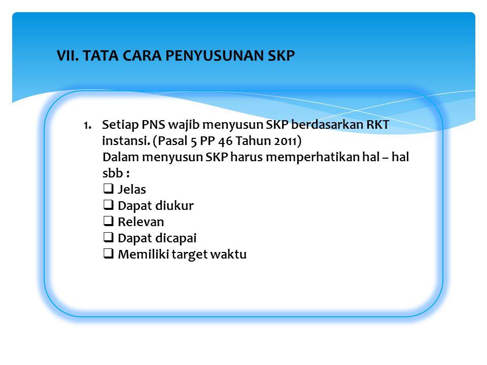 1.Setiap PNS wajib menyusun SKP berdasarkan RKT instansi. (Pasal 5 PP 46 Tahun 2011) Dalam menyusun SKP harus memperhatikan hal – hal sbb :  Jelas 