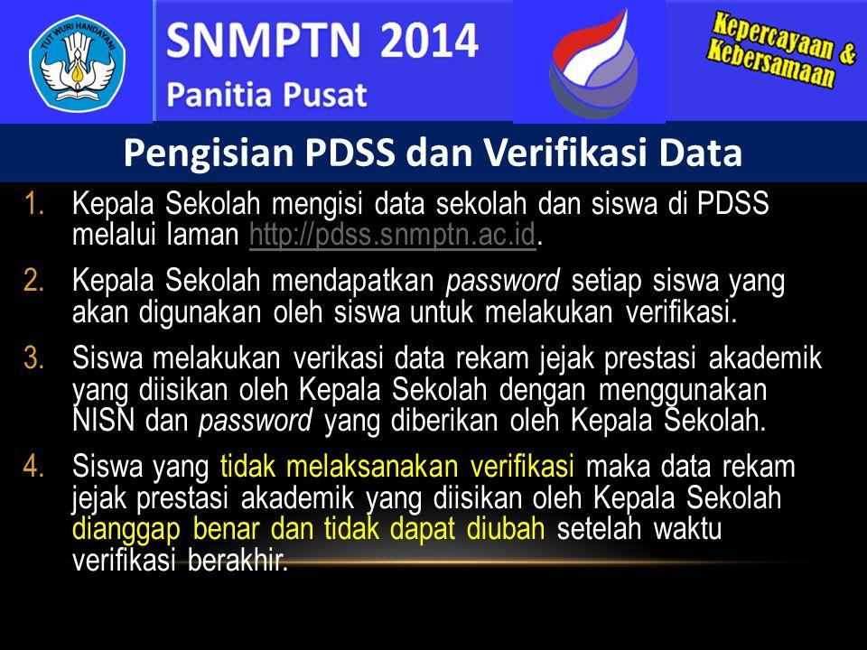 1.Kepala Sekolah mengisi data sekolah dan siswa di PDSS melalui laman http://pdss.snmptn.ac.id.http://pdss.snmptn.ac.id 2.Kepala Sekolah mendapatkan p
