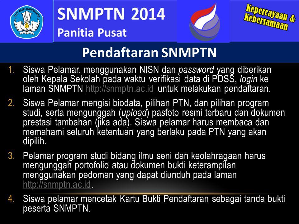 1.Siswa Pelamar, menggunakan NISN dan password yang diberikan oleh Kepala Sekolah pada waktu verifikasi data di PDSS, login ke laman SNMPTN http://snm