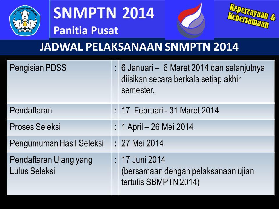 JADWAL PELAKSANAAN SNMPTN 2014 Pengisian PDSS:6 Januari – 6 Maret 2014 dan selanjutnya diisikan secara berkala setiap akhir semester. Pendaftaran:17 F