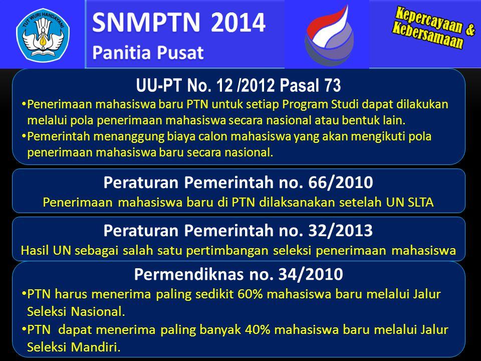 UU-PT No. 12 /2012 Pasal 73 Penerimaan mahasiswa baru PTN untuk setiap Program Studi dapat dilakukan melalui pola penerimaan mahasiswa secara nasional