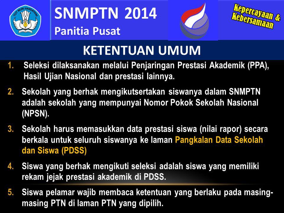Siswa berhak mengikuti SNMPTN jika sekolahnya: 1.SMA/SMK/MA/MAK negeri maupun swasta, termasuk sekolah RI di luar negeri, yang memiliki NPSN dan mengikuti Ujian Nasional 2.Telah mengisi PDSS.