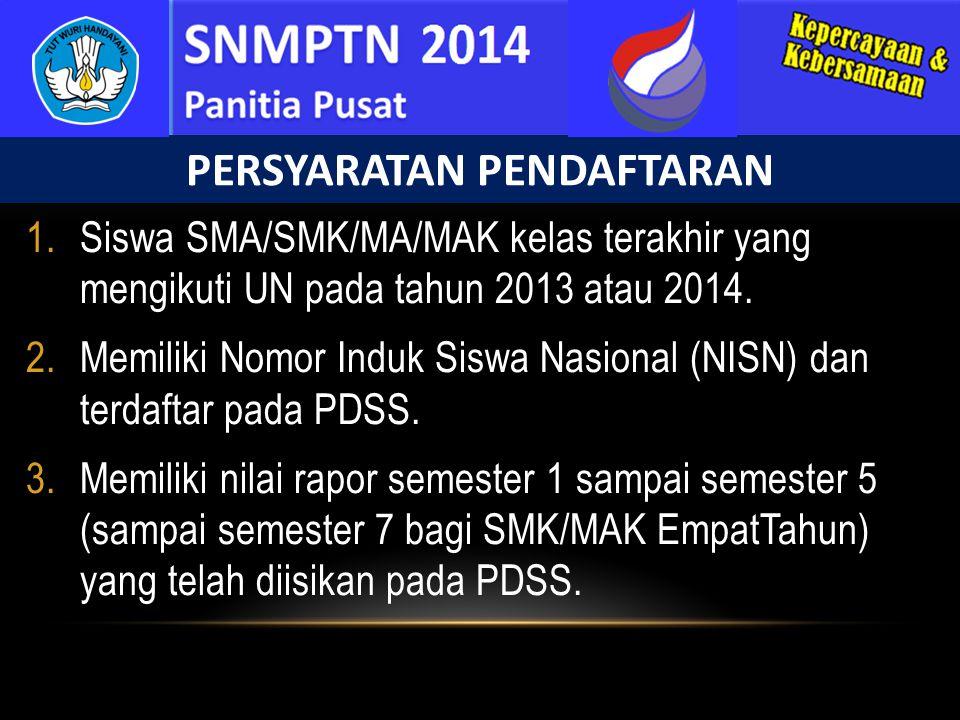1.Siswa SMA/SMK/MA/MAK kelas terakhir yang mengikuti UN pada tahun 2013 atau 2014. 2.Memiliki Nomor Induk Siswa Nasional (NISN) dan terdaftar pada PDS