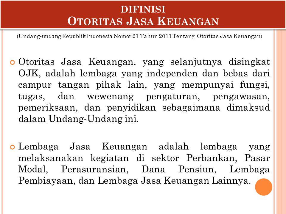 (Undang-undang Republik Indonesia Nomor 21 Tahun 2011 Tentang Otoritas Jasa Keuangan) Otoritas Jasa Keuangan, yang selanjutnya disingkat OJK, adalah l