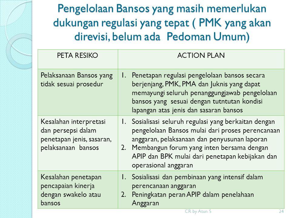 Pengelolaan Bansos yang masih memerlukan dukungan regulasi yang tepat ( PMK yang akan direvisi, belum ada Pedoman Umum) CR by Atun S24 PETA RESIKOACTI