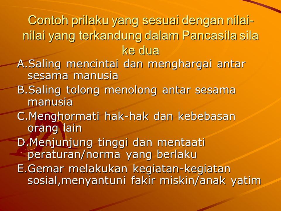 Contoh prilaku yang sesuai dengan nilai-nilai yang terkandung dalam Pancasila sila ke satu A.Melaksanakan ibadah agama tepat waktu B.Memperdalam ajara