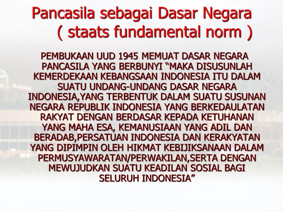 1. Pancasila sebagai Dasar Negara ( staats fundamental norm ) Pancasila sebagai Dasar Negara ( staats fundamental norm )Pancasila sebagai Dasar Negara