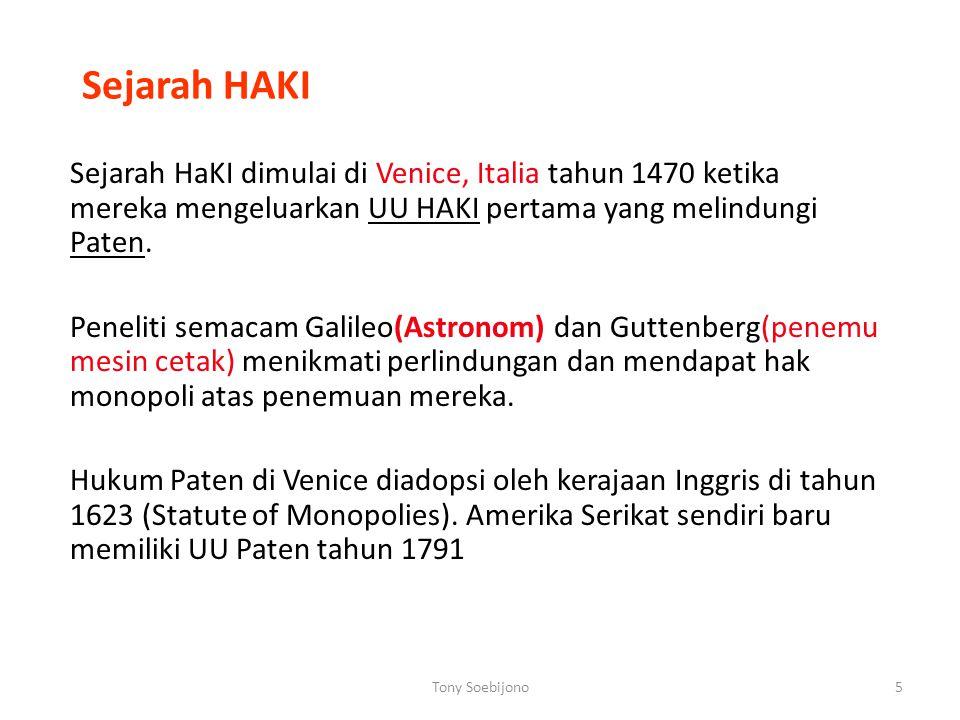 Sejarah HAKI Sejarah HaKI dimulai di Venice, Italia tahun 1470 ketika mereka mengeluarkan UU HAKI pertama yang melindungi Paten.