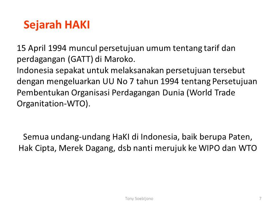 Sejarah HAKI 15 April 1994 muncul persetujuan umum tentang tarif dan perdagangan (GATT) di Maroko.