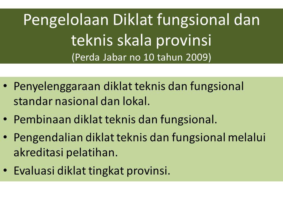 Pengelolaan Diklat fungsional dan teknis skala provinsi (Perda Jabar no 10 tahun 2009) Penyelenggaraan diklat teknis dan fungsional standar nasional d