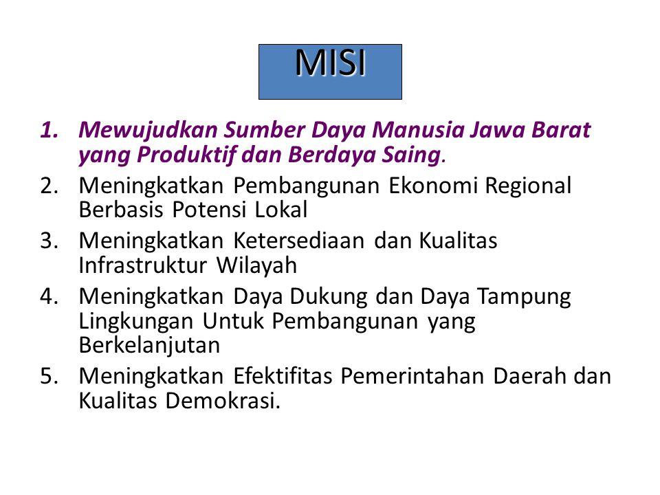MISI 1.Mewujudkan Sumber Daya Manusia Jawa Barat yang Produktif dan Berdaya Saing. 2.Meningkatkan Pembangunan Ekonomi Regional Berbasis Potensi Lokal