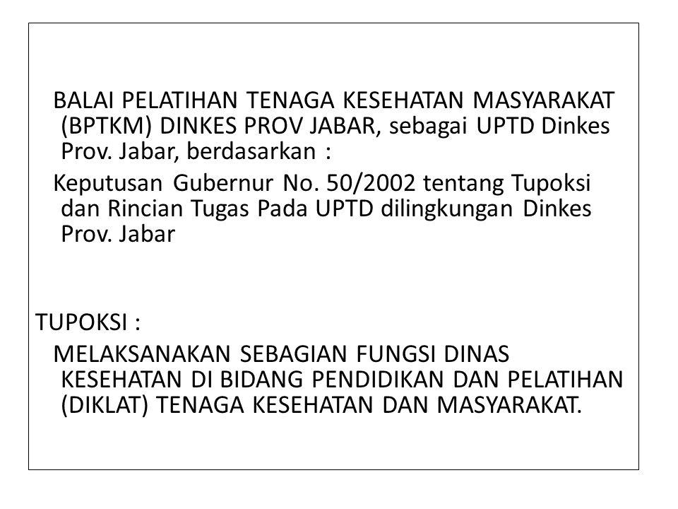 BALAI PELATIHAN TENAGA KESEHATAN MASYARAKAT (BPTKM) DINKES PROV JABAR, sebagai UPTD Dinkes Prov. Jabar, berdasarkan : Keputusan Gubernur No. 50/2002 t