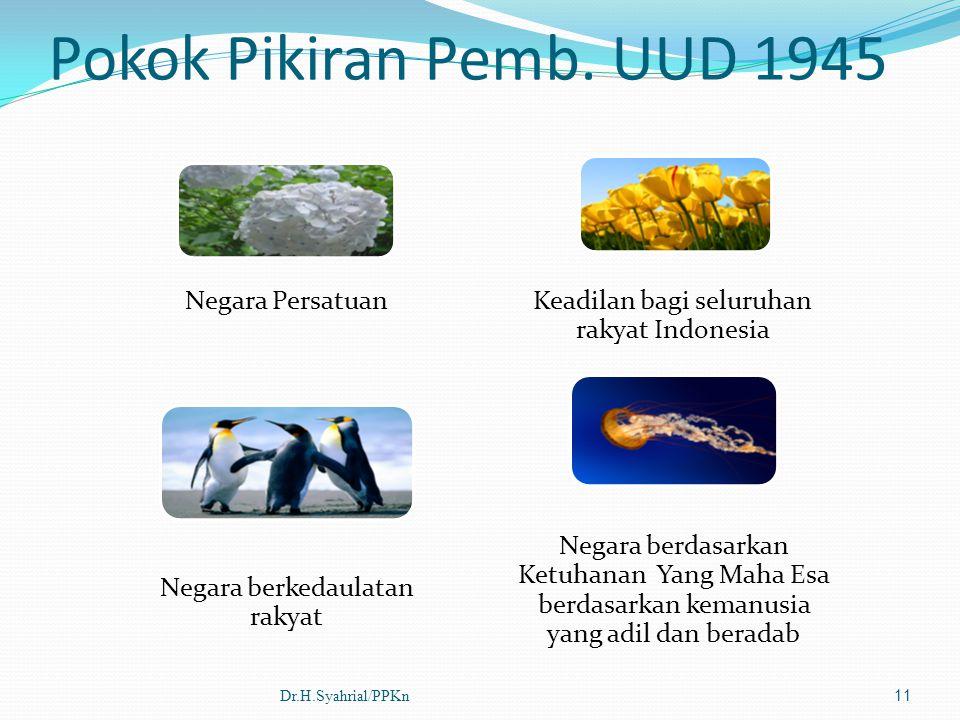 Pokok Pikiran Pemb. UUD 1945 Negara Persatuan Keadilan bagi seluruhan rakyat Indonesia Negara berkedaulatan rakyat Negara berdasarkan Ketuhanan Yang M