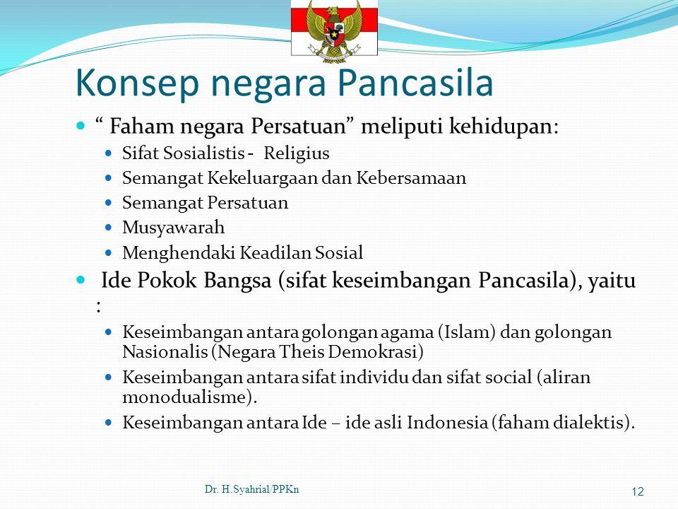 "Konsep negara Pancasila "" Faham negara Persatuan"" meliputi kehidupan: Sifat Sosialistis - Religius Semangat Kekeluargaan dan Kebersamaan Semangat Pers"