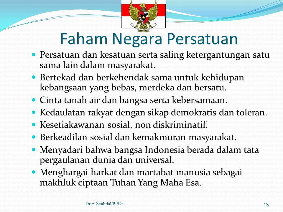 Faham Negara Persatuan Persatuan dan kesatuan serta saling ketergantungan satu sama lain dalam masyarakat. Bertekad dan berkehendak sama untuk kehidup