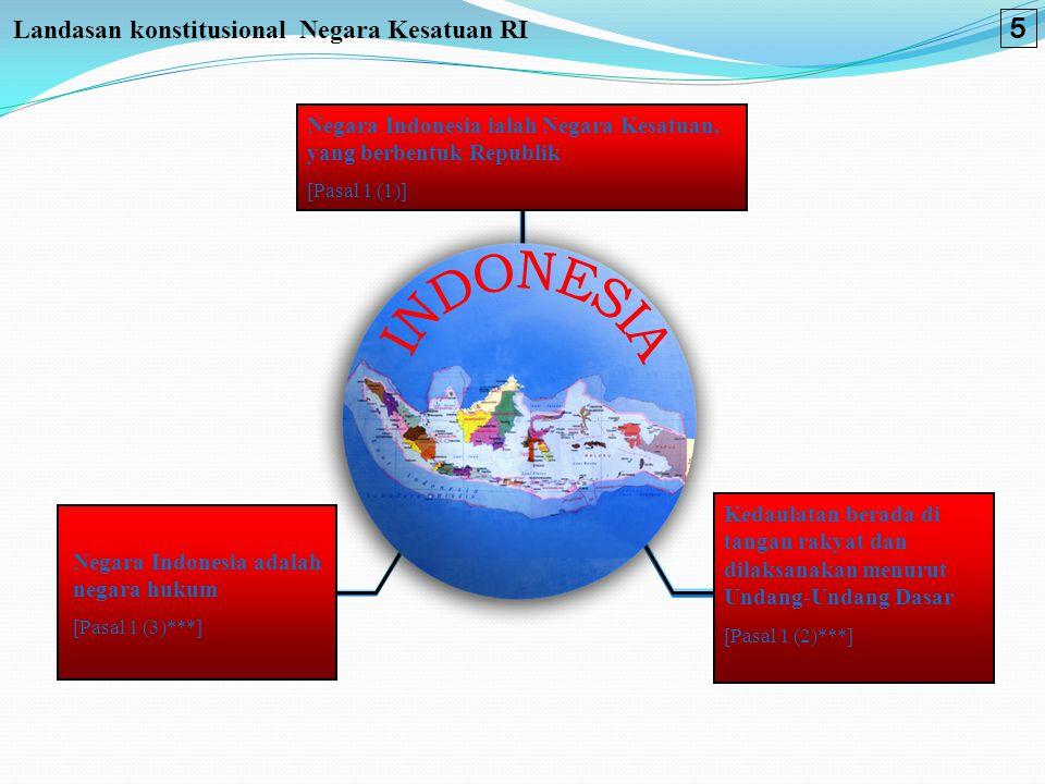 Landasan konstitusional Negara Kesatuan RI Negara Indonesia ialah Negara Kesatuan, yang berbentuk Republik [Pasal 1 (1)] Negara Indonesia adalah negar