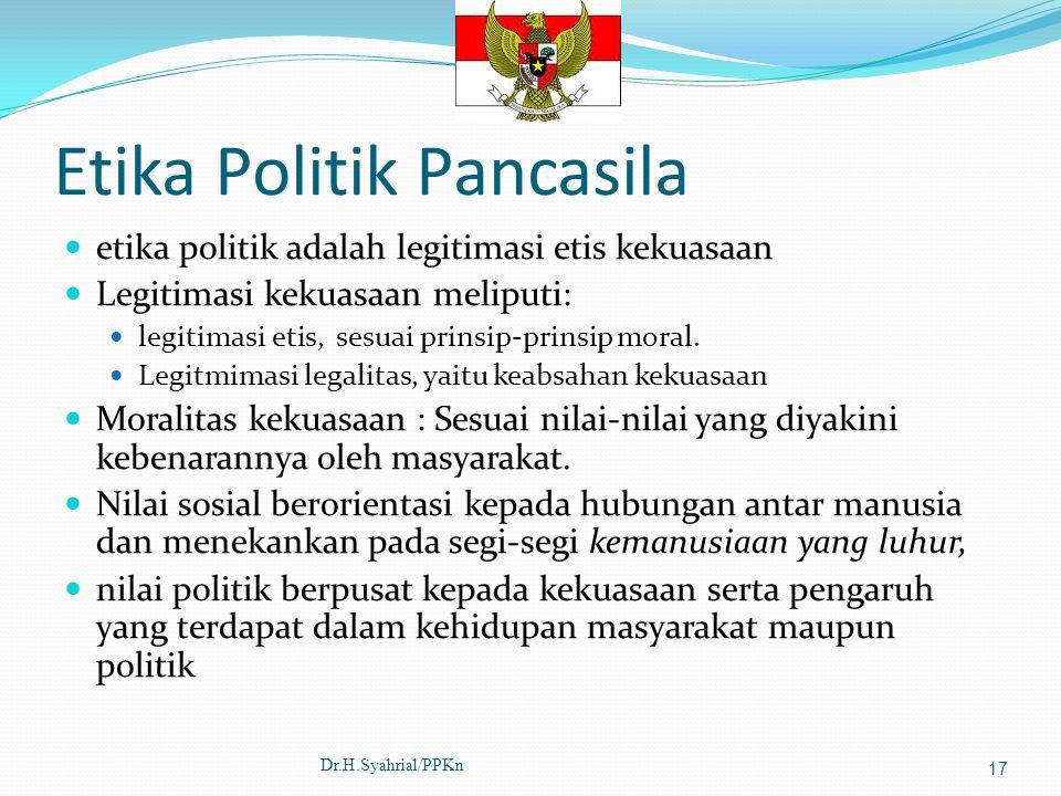 Etika Politik Pancasila etika politik adalah legitimasi etis kekuasaan Legitimasi kekuasaan meliputi: legitimasi etis, sesuai prinsip-prinsip moral. L
