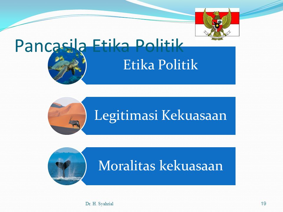 Etika Politik Legitimasi Kekuasaan Moralitas kekuasaan Pancasila Etika Politik Dr. H. Syahrial19
