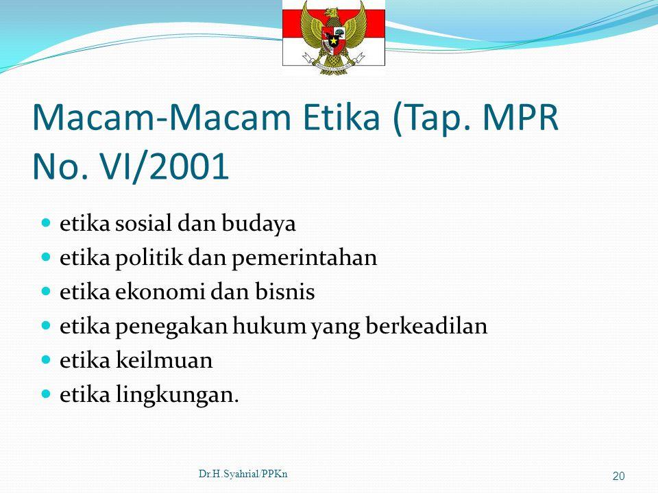 Macam-Macam Etika (Tap. MPR No. VI/2001 etika sosial dan budaya etika politik dan pemerintahan etika ekonomi dan bisnis etika penegakan hukum yang ber