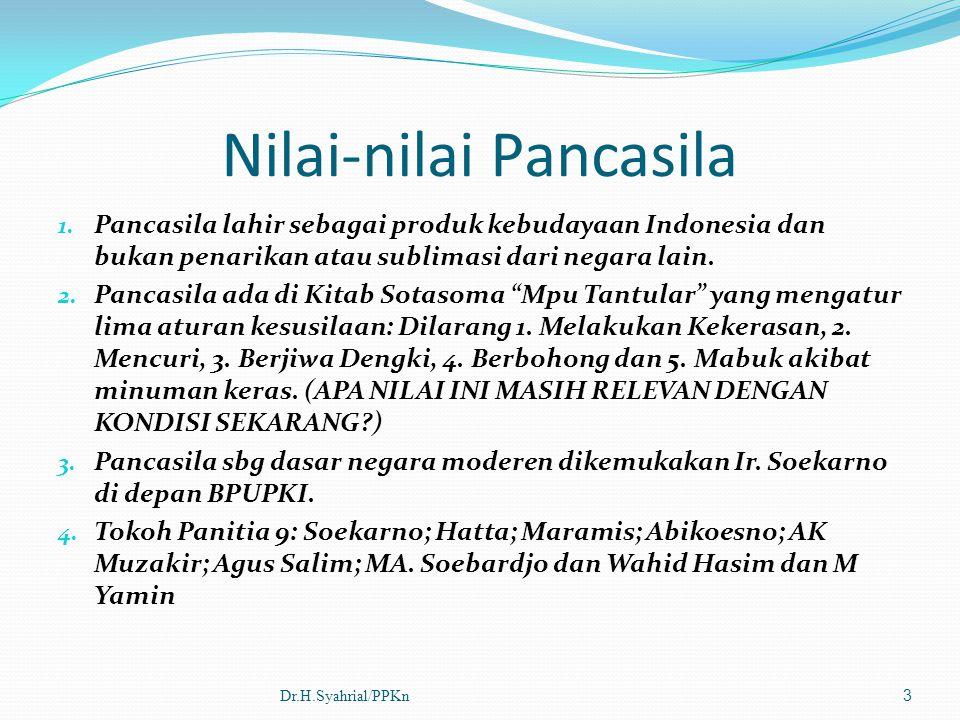 Nilai-nilai Pancasila 1. Pancasila lahir sebagai produk kebudayaan Indonesia dan bukan penarikan atau sublimasi dari negara lain. 2. Pancasila ada di
