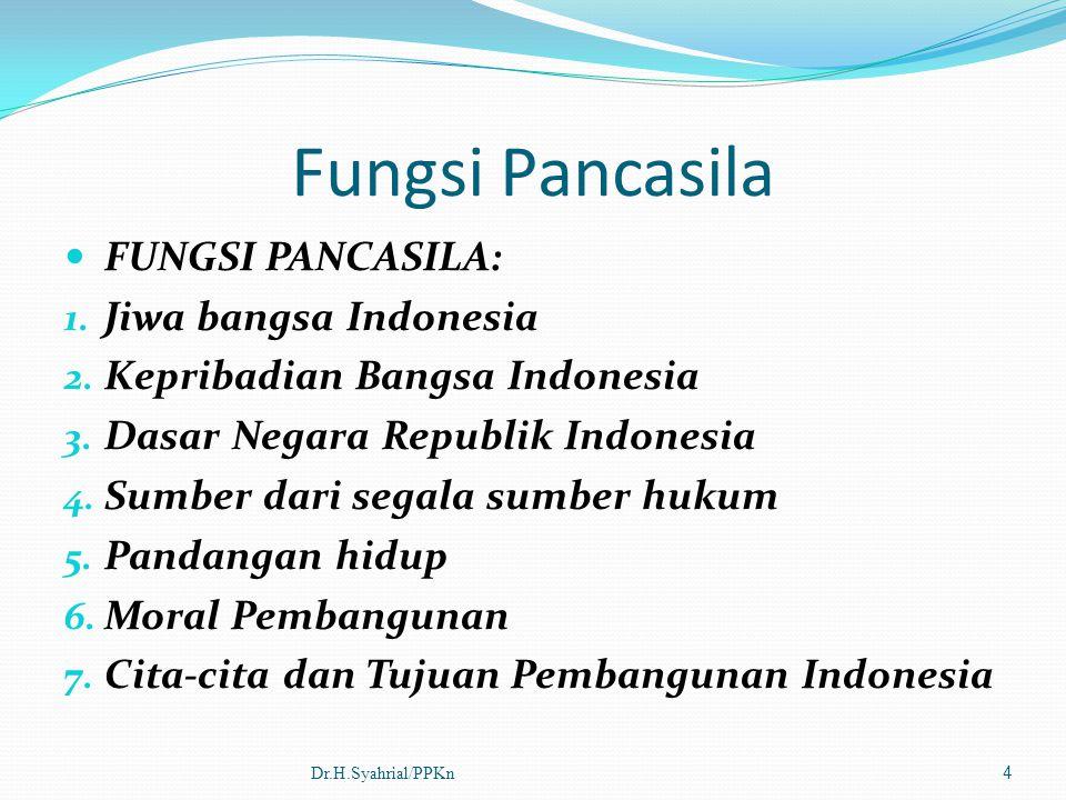 Fungsi Pancasila FUNGSI PANCASILA: 1. Jiwa bangsa Indonesia 2. Kepribadian Bangsa Indonesia 3. Dasar Negara Republik Indonesia 4. Sumber dari segala s