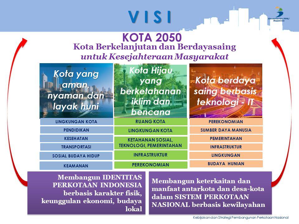 Kebijakan dan Strategi Pembangunan Perkotaan Nasional KOTA 2050 Kota Hijau yang berketahanan iklim dan bencana RUANG KOTA KETAHANAN SOSIAL, TEKNOLOGI, PEMERINTAHAN INFRASTRUKTUR PEREKONOMIAN LINGKUNGAN KOTA Kota berdaya saing berbasis teknologi - IT PEREKONOMIAN SUMBER DAYA MANUSIA PEMERINTAHAN INFRASTRUKTUR LINGKUNGAN BUDAYA HUNIAN Kota yang aman, nyaman dan layak huni LINGKUNGAN KOTA PENDIDIKAN KESEHATAN KEAMANAN TRANSPORTASI SOSIAL BUDAYA HIDUP V I S I Membangun IDENTITAS PERKOTAAN INDONESIA berbasis karakter fisik, keunggulan ekonomi, budaya lokal Membangun keterkaitan dan manfaat antarkota dan desa-kota dalam SISTEM PERKOTAAN NASIONAL berbasis kewilayahan Kota Berkelanjutan dan Berdayasaing untuk Kesejahteraan Masyarakat