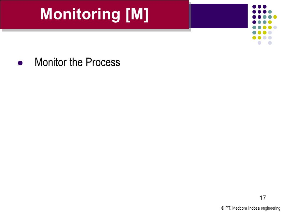 © PT. Medcom Indosa engineering 17 Monitor the Process Monitoring [M]